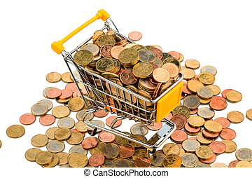 european coins - a shopping cart is full with euro coins,...
