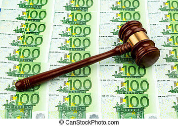 gavel and euro banknotes. symbolic photo for costs in court,...