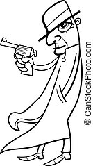 detective or gangster cartoon - Black and White Cartoon...