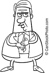businessman cartoon coloring page - Black and White Cartoon...