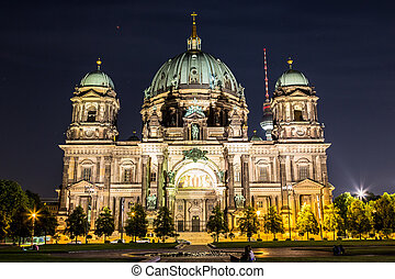 Berliner Dom in Berlin at summer nigth