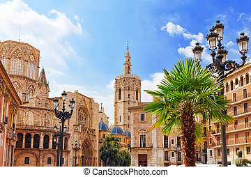 Square of Saint Mary's and Valencia Cathedral Temple in old...