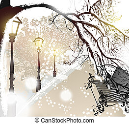 Christmas outdoor scenery with snow, street, lamps and park...