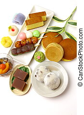 Japanese confectioneries - group shot of Japanese...
