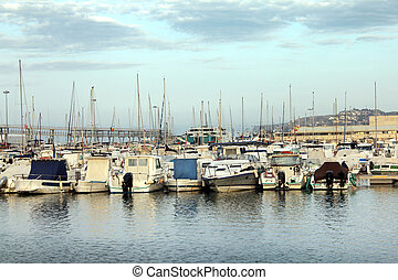 Mediterranean Marina - Boats and yachts parked in old...