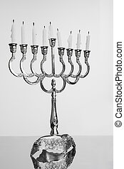 Extinct candles on the menorah End of holiday Hanukkah
