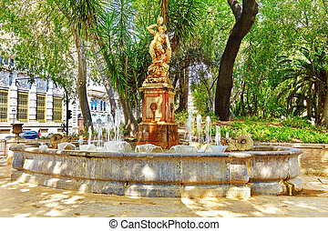 Fountain in park - places of Valencia, city in Spain