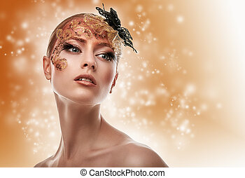 Beautiful Girl. Creative Fashion Makeup. Fantasy backround.