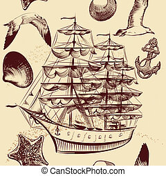 Seamless vector pattern with ship, shells and sea-gulls -...