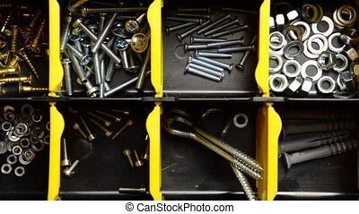 Screw and dowel in plastic organizer box fasteners