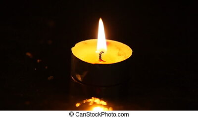 One small burning candle against a black background