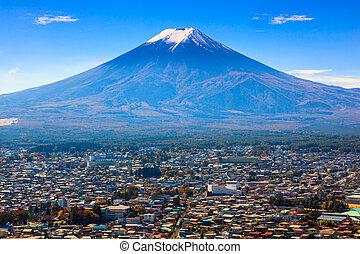 Aerial view of mt.Fuji, Fujiyoshida, Japan - Aerial view of...
