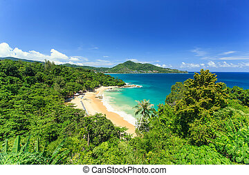 Tropical beach from top view in Phuket, Thailand