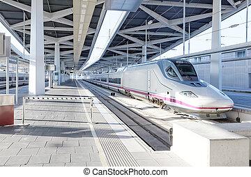 Modern high speed train at the railways stantion - Modern...