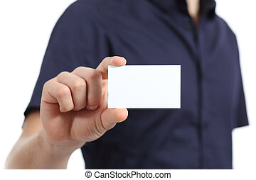 Close up of a man hand holding a blank card on a white...