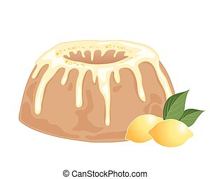lemon drizzle cake - an illustration of a round lemon...