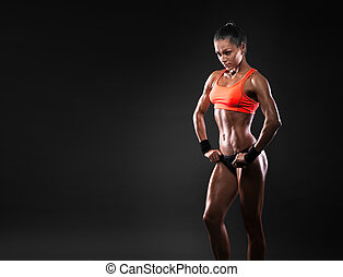 female in sports clothing relaxing after workout - Close up...