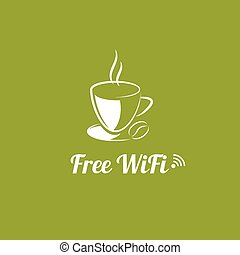 Internet cafes. Wireless free connection. wifi icons with a...