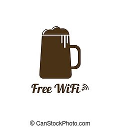 Internet cafes Wireless free connection wifi icons with beer...