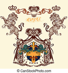 Heraldic design with lion and coat of arms - Vector heraldic...