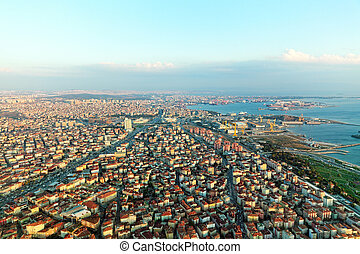 View on Istambul from airplane near Airport.Turkey