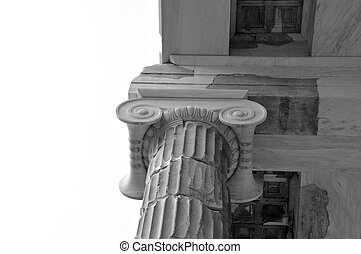 marble ionic column - Detail of marble ionic column on white...
