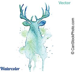 Watercolor deer head Vector on the white background. -...