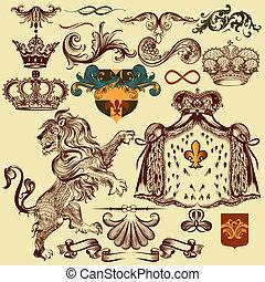 Set of vector heraldic elements for design - Vector set of...