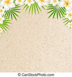 Sand Background With Frangipani, With Gradient Mesh, Vector...