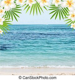 Summer Time Poster With Frangipani, With Gradient Mesh,...