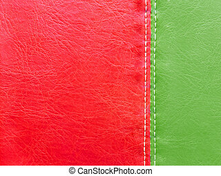 Green and red leather with white stitch - Green and red...