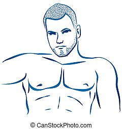 Muscular Hunk Torso - Outline illustration of a mans...