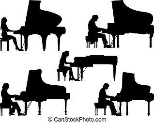 Siluetas, pianista, en, el, piano.,