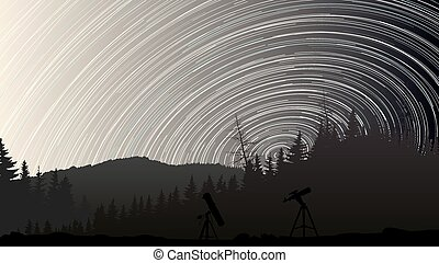 Stars trace circles on the sky - Horizontal illustration of...