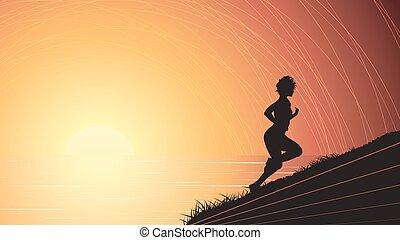 Runner above the sunset sea. - Vector horizontal...