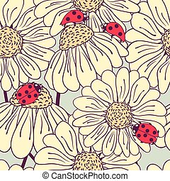 Ladybug and daisy seamless pattern