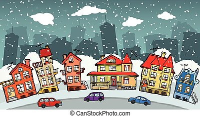 Small cartoon city - Vector handdrawn illustration of small...