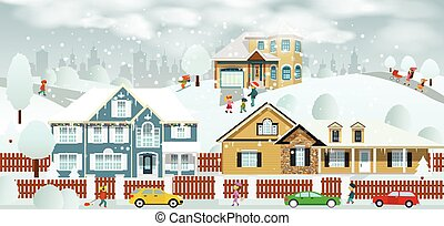 Life in the suburbs - Vector illustration of small village...