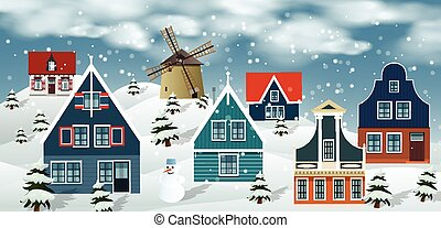 Winter landscape Dutch countryside - Vector illustration of...
