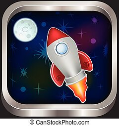 spacecraft icon - Vintage spacecraft vector illustration...