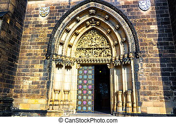 Basilica of St Peter and St Paul in Vysehrad - Entry door of...