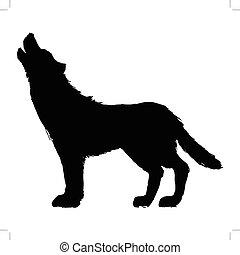 wolf - black silhouette of wolf