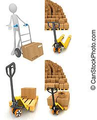 Pallet Truck - Set of 3D Illustrations.