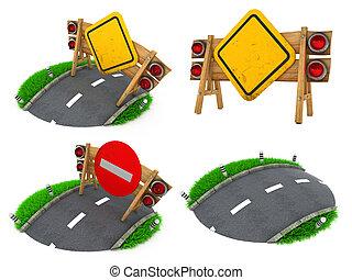 Warning Roadsigns - Set of 3D Illustrations. - Warning...
