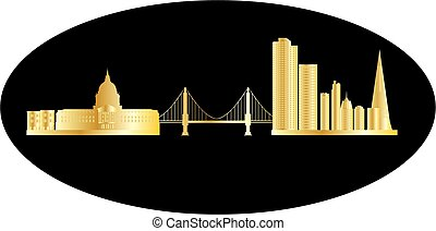 san fransisco skyline with golden gate bridge and tall...