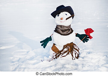 Snowmen with flower - Snowmen-cowboy with flower, hat and...