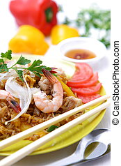 nasi goreng - studio shot of Indonesian fried rice called...