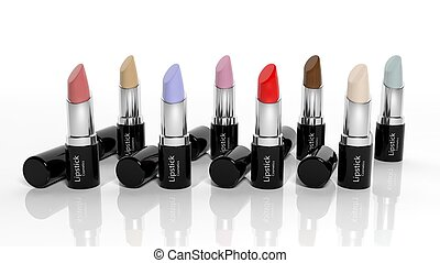 3D Lipsticks collection isolated on white background