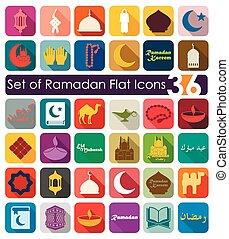 jogo, de, ramadan, apartamento, ícones,