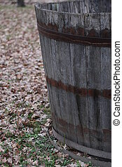 barrel to harvest grapes during the harvest and wine making...